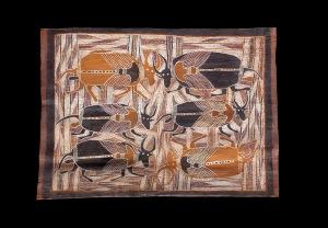 Peinture sur écorce attribuée à Wandjuk Marika ou à son père, Musée d'ethnographie de Genève.