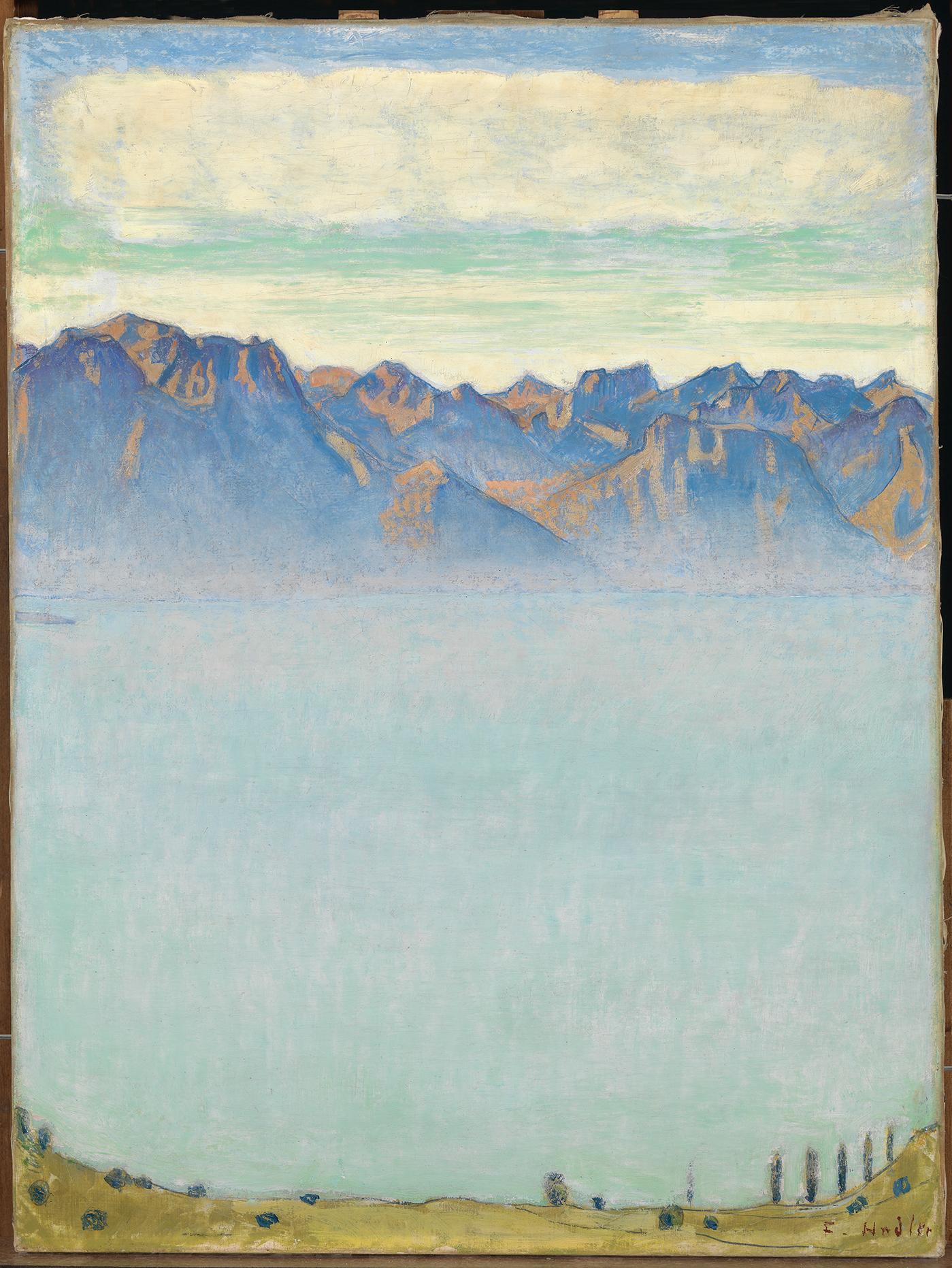 Ferdinand Hodler, Le Léman et les Alpes savoyardes, vers 1906, huile sur toile, 64 x 48,5 cm, collection Christoph Blocher © SIK-ISEA, Zurich / Photo : Philipp Hitz