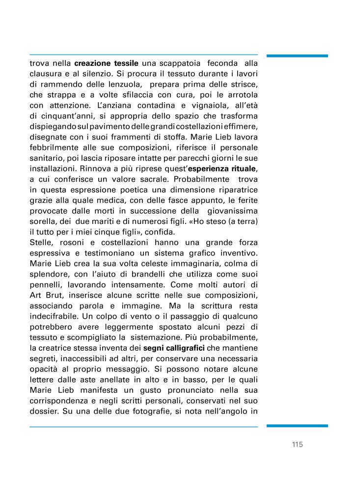 """Article """"Le Costellazioni onirche di Marie Lieb o la mania del cieli"""" de Lucienne Peiry."""