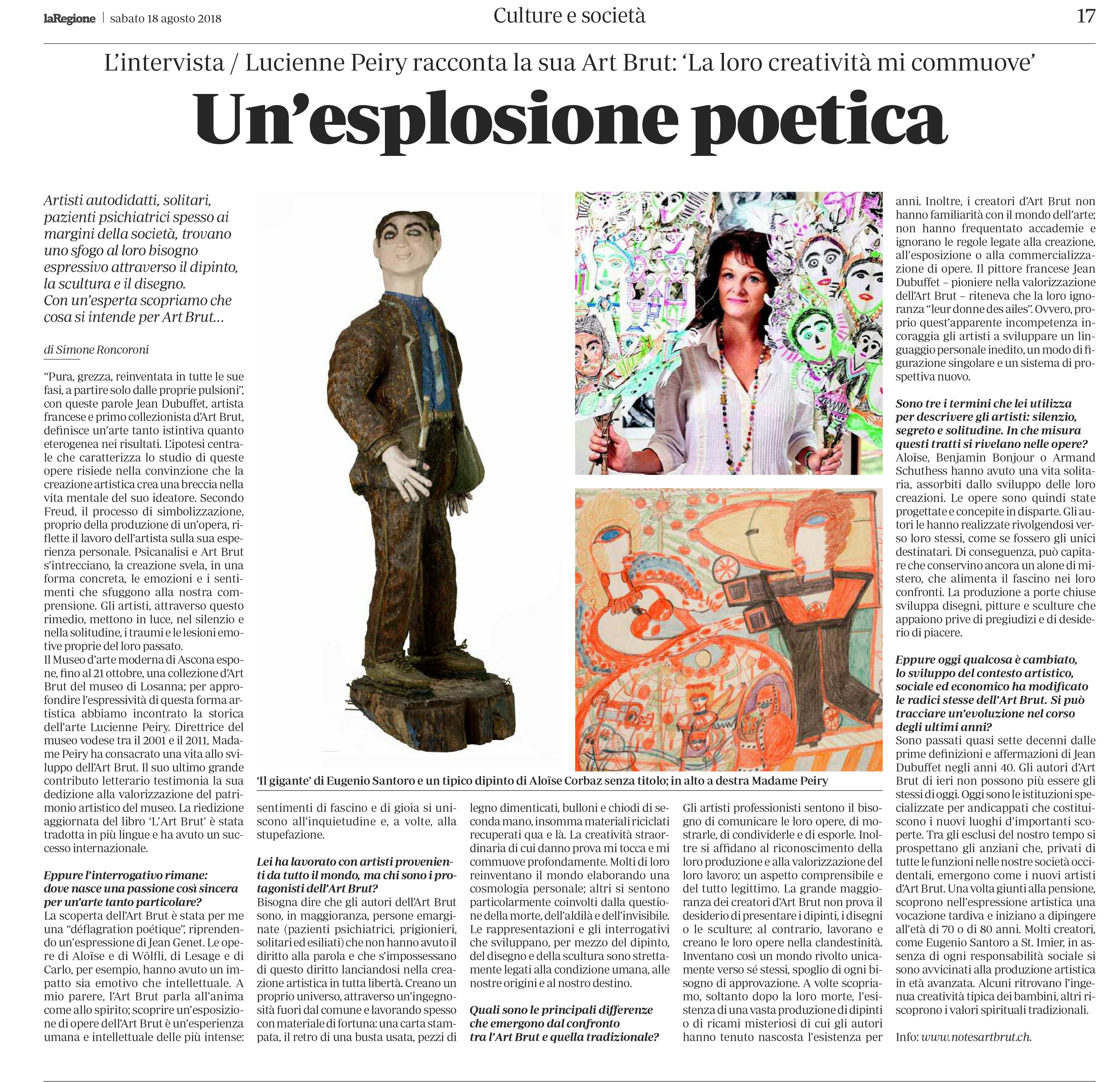 Article du journal La Regione, paru le 18.08.2018