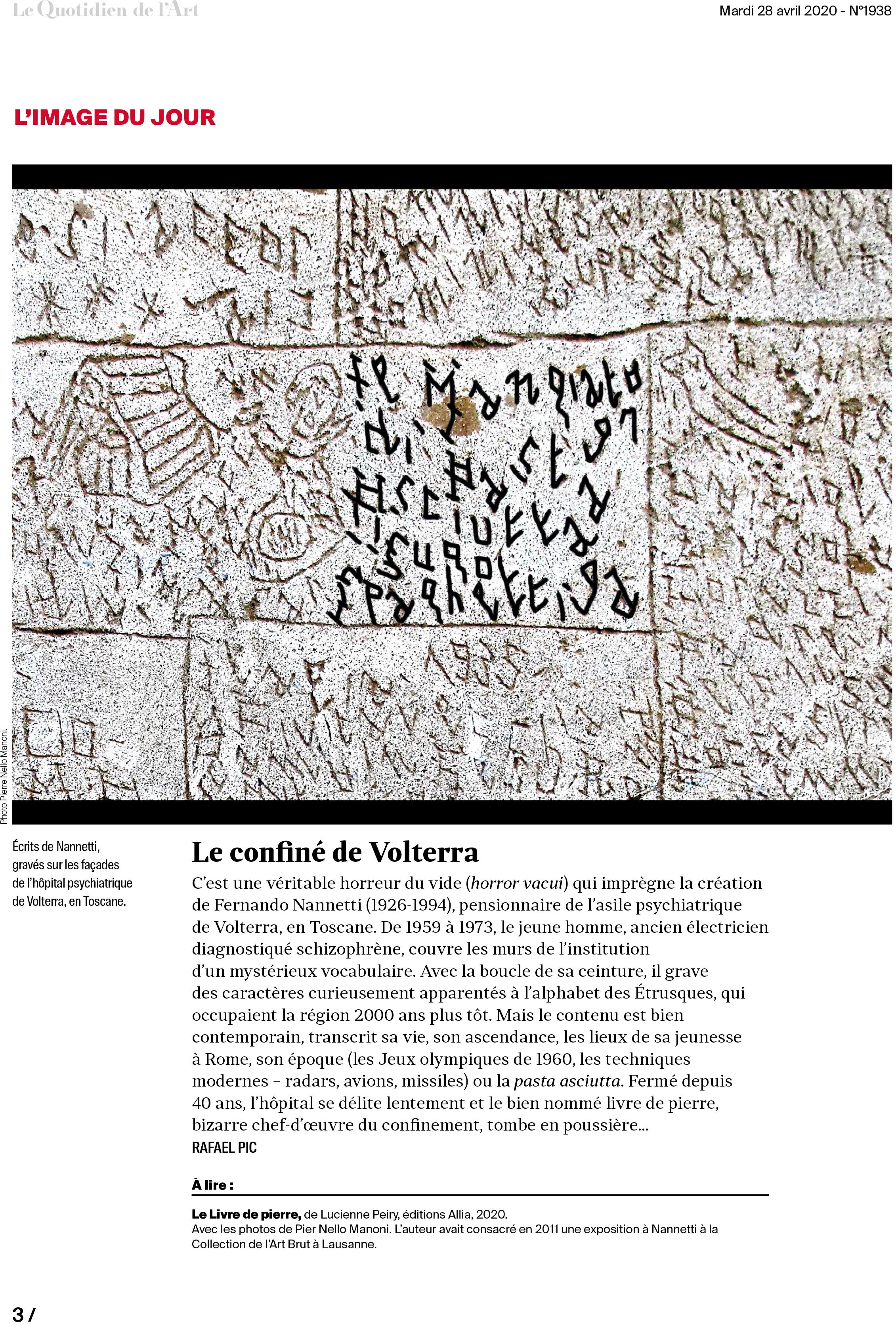 Article paru dans Le Quotidien de l'Art, le 28.04.2020