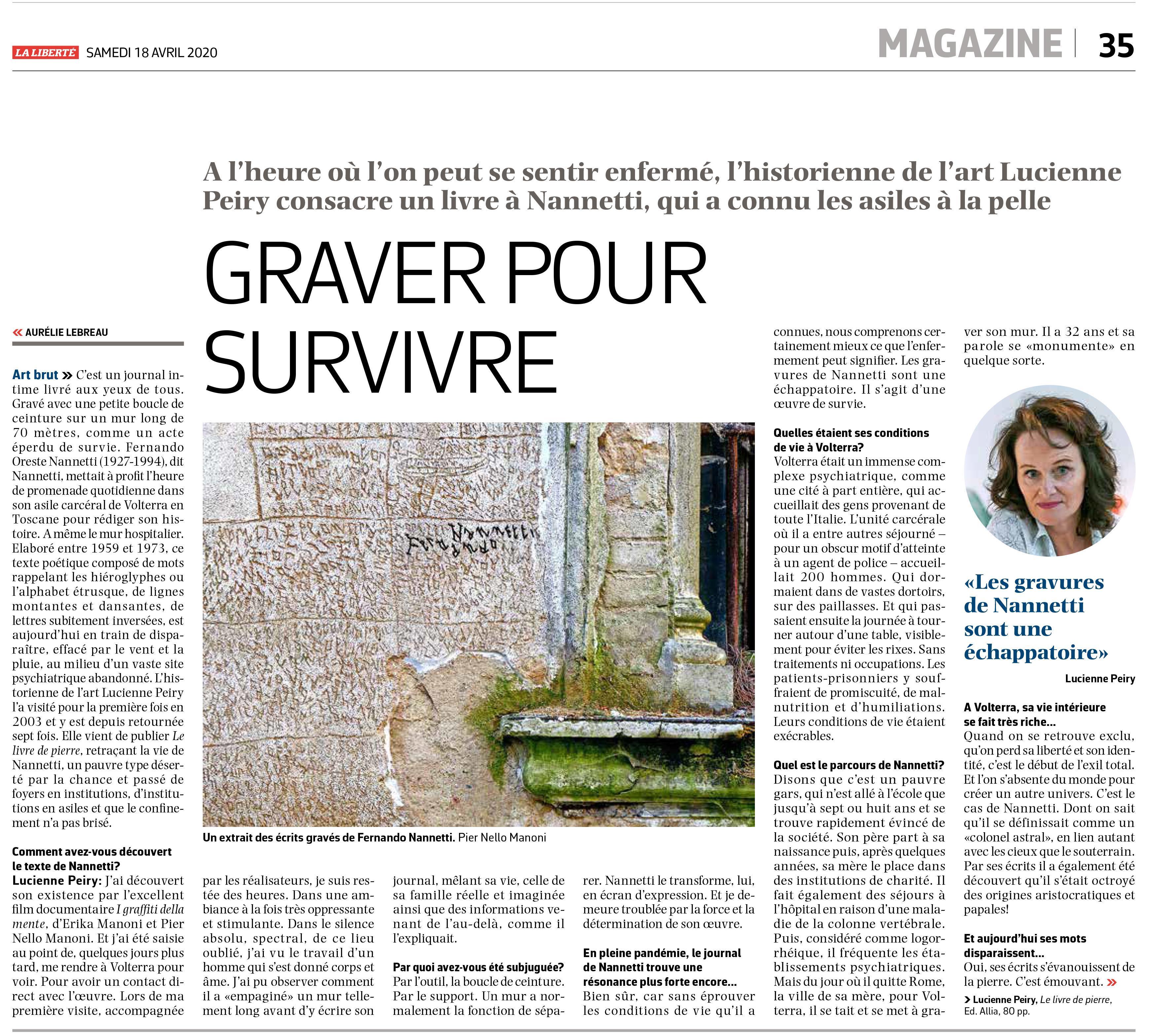 """Article de """"La Liberté"""" paru le 18.04.2020"""