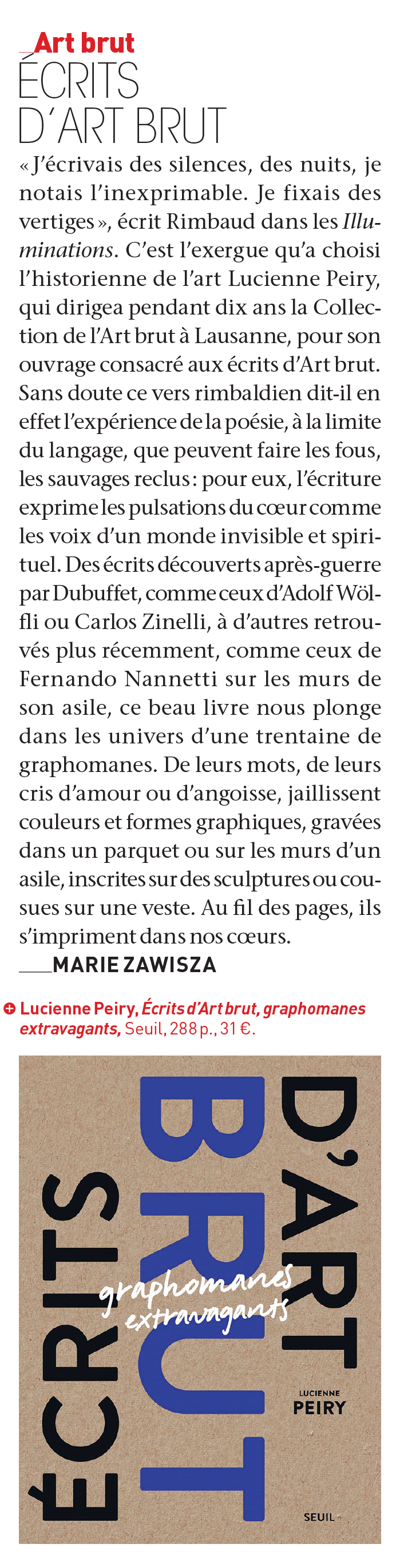 L'article de Marie Sawisza dans la magazine « L'Œil » de décembre 2020.