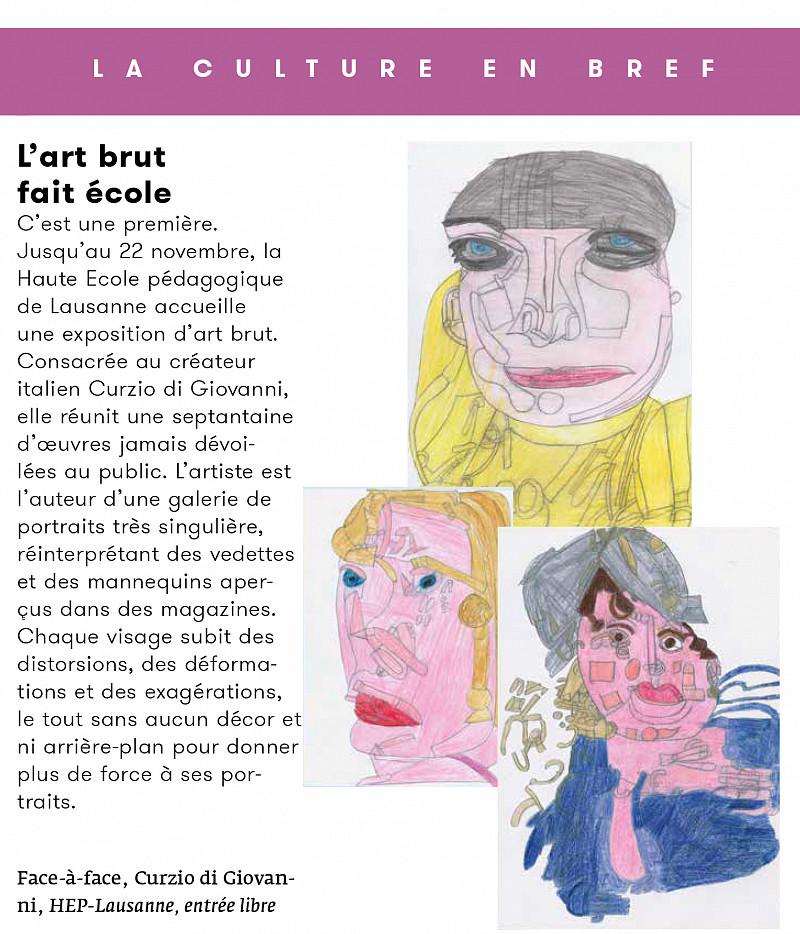 L'exposition Curzio di Giovanni dans le Magazine «Générations»